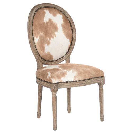 Madeleine French Country Oval Brown Hair on Hide Dining Chair