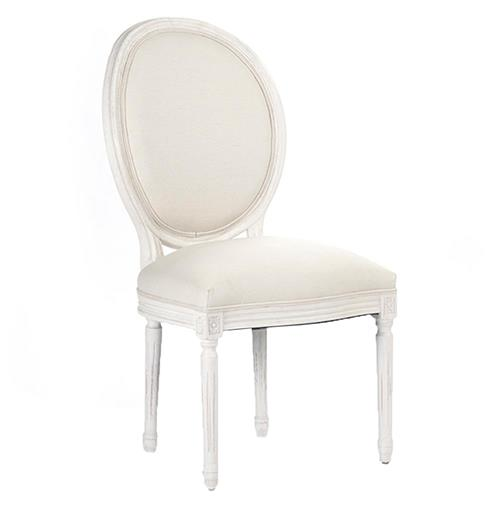 Madeleine French Country Oval Cotton White Antique Oak Dining Chair