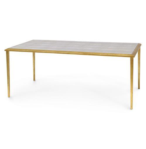 Madeleine Hollywood Regency Faux Shagreen Gold Leaf Coffee Table