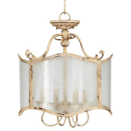 Maison French Country Antique White  4 Light Glass Chandelier