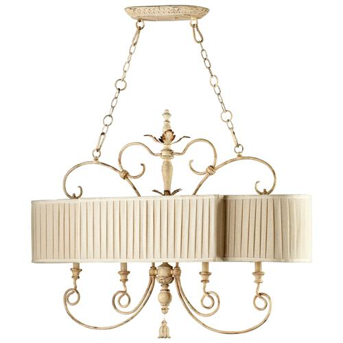 Maison French Country Antique White 4 Light Island Chandelier | Kathy Kuo Home