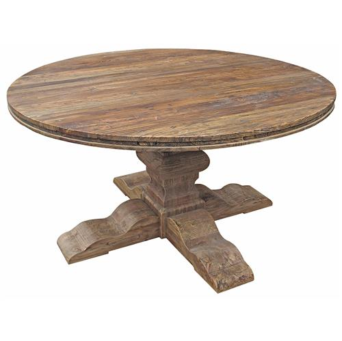 Maris French Country Reclaimed Elm Round Dining Table Kathy Kuo Home