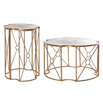Marlene Hollywood Regency Antique Gold Mirror Coffee and Side Table - Set of 2