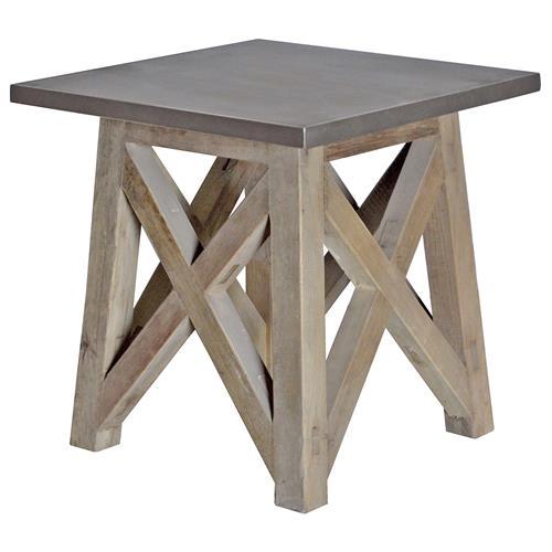 Vedel Industrial Loft Zinc Wood Rectangle Coffee Table: Marx Industrial Loft Elm Wood Zinc Metal Side Table