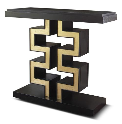Maze Hollywood Regency Black Gold Leaf Console Table