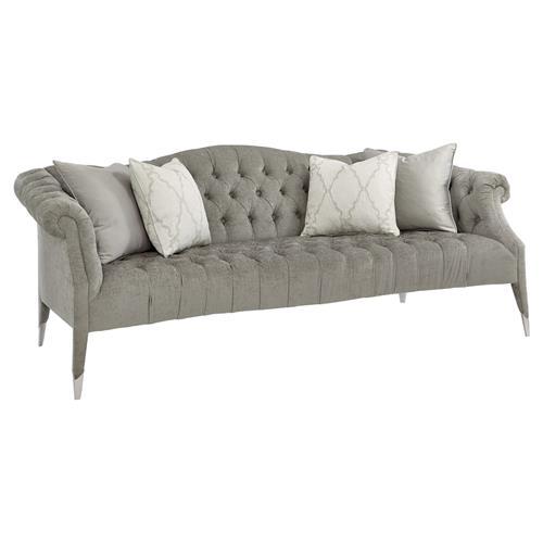 Melina Modern Classic Grey Chenille Upholstered Tufted Camelback Sofa