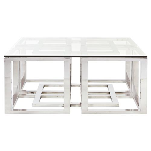 Square Oyster Coffee Table With Glass Top: Mercer Stainless Steel Silver Square Glass Coffee Table