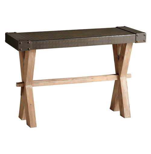 Mesa Solid Wood Raw Iron Rustic Console Table | Kathy Kuo Home