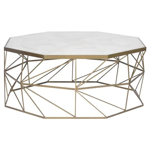 Rollins Industrial Loft Bronze Iron Coffee Table Kathy Kuo: Milani Regency Brass Geometry White Marble Coffee Table