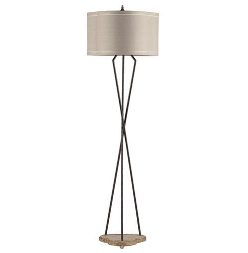 Miranda Rustic Twist Contemporary Trefoil Iron Linen Floor Lamp | Kathy Kuo Home