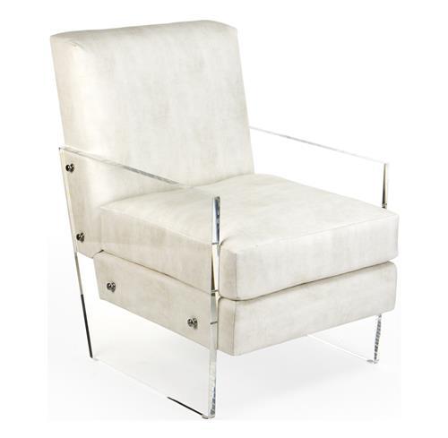 Modern Art Deco Ivory Faux Leather Acrylic Club Chair