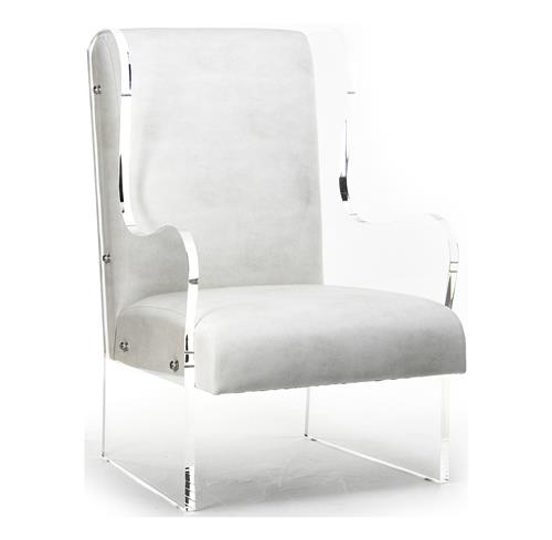 Modern Art Deco Ivory Faux Leather Acrylic Wing Back Chair