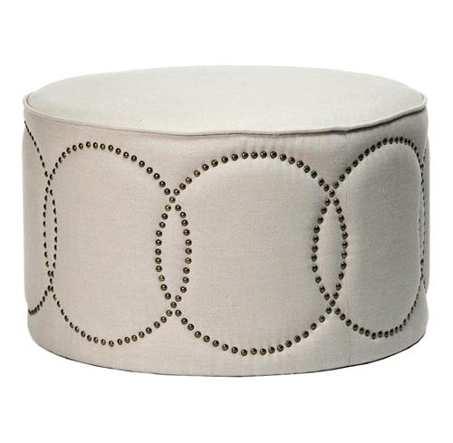 Modern Classic Round Linen Nail Head Cocktail Ottoman