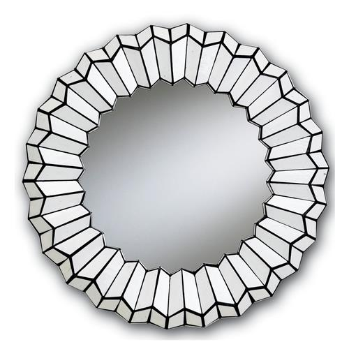 "Modern 30"" Round Painted Black and White Glass Mirror"