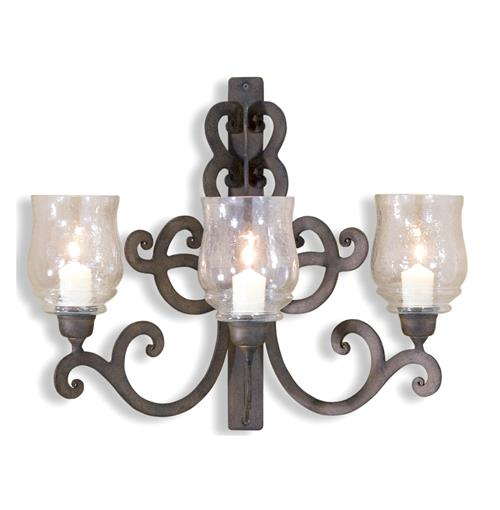 Scroll Wall Sconces Candles : Mori Scroll Style Iron 3 Candle Sconce
