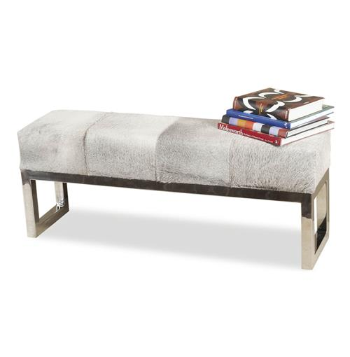Moro Hollywood Regency Grey Hide Steel Bench Backless