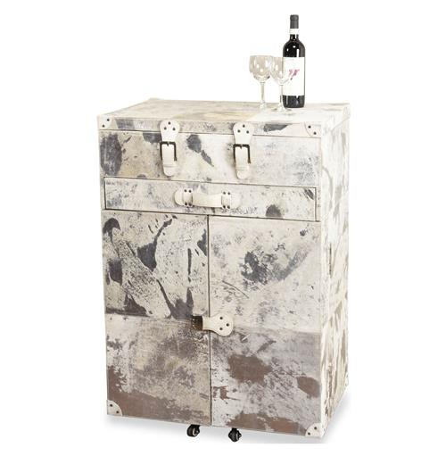 Moro Modern Hollywood Steel and Cowhide Cabinet Chest