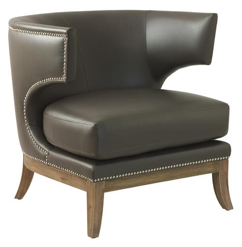 Morris Hollywood Regency Modern Loft Leather Side Chair