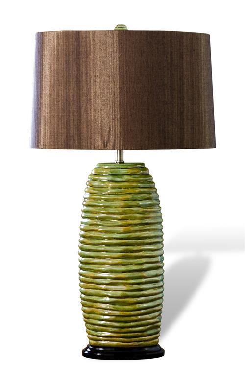 Mossy hive olive chocolate modern wood shade lamp for Olive wood floor lamp