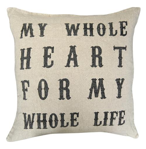 My Whole Heart' Vintage Type Linen Down Throw Pillow