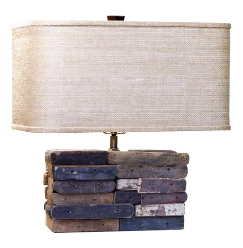 nantes rustic reclaimed wood block linen shade table lamp. Black Bedroom Furniture Sets. Home Design Ideas