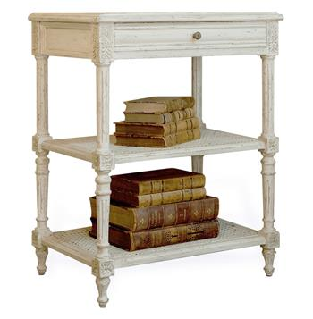 Napoleon French Country Antique White Caned Nightstand Side Table