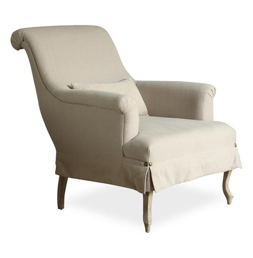 Napoleon French Country Rolled Arm Gray Linen Bergere Accent Chair