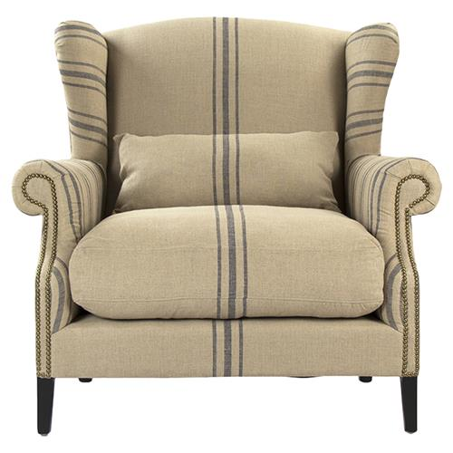 Navy High Wingback Accent Chair With White Stripe: Napoleon French Fog Linen Blue Stripe Wingback Arm Chair