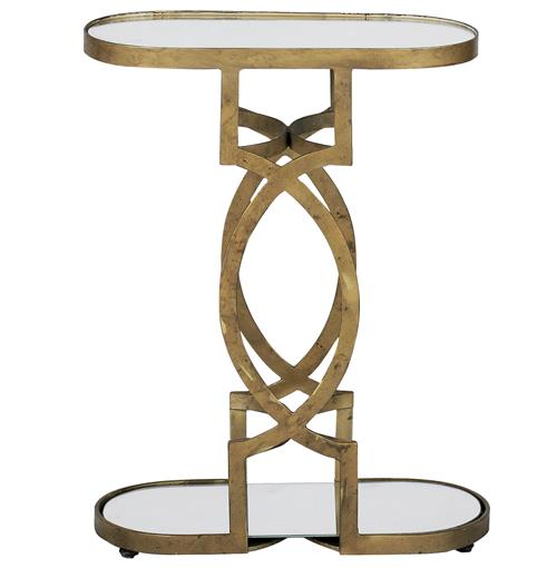 Natasha Art Deco Antique Brass Geometric Side End Table