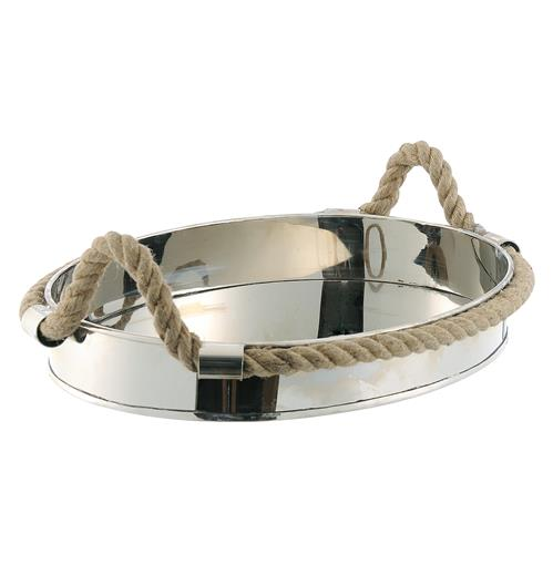 Nautical Rope Polished Silver Modern Serving Tray | Kathy Kuo Home