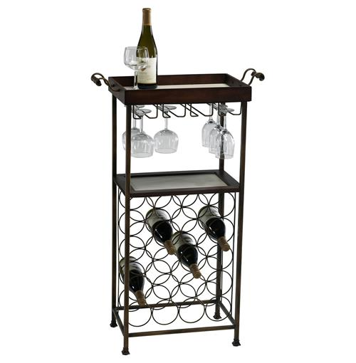 New York Modern Dark Cherry Wood Wine Bar Serving Cart