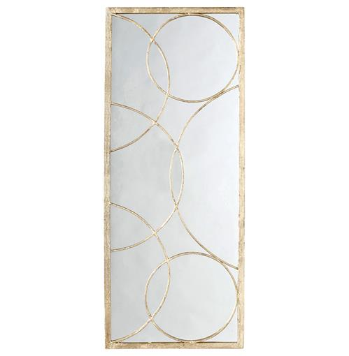 Nikita Hollywood Regency Gold Leaf Circle Motif Mirror