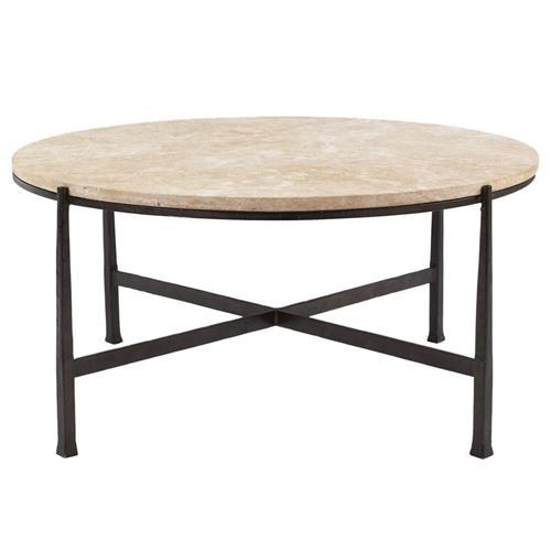Industrial Renaissance Outdoor Coffee Table: Norfolk Industrial Loft Round Metal Stone Patio Coffee Table