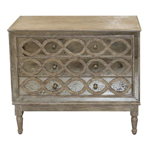 Ogee French Country Distressed Antique Mirror Dresser Chest
