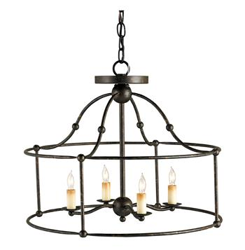 Open Frame Industrial 4 Light Ceiling Mount Pendant