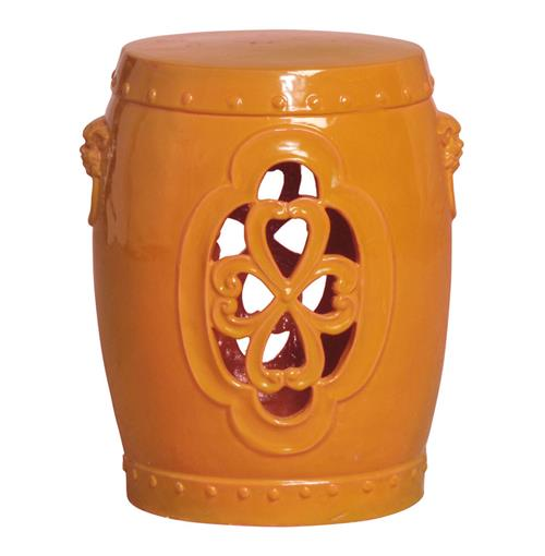Orange Pierced Clover Ceramic Asian Garden Stool