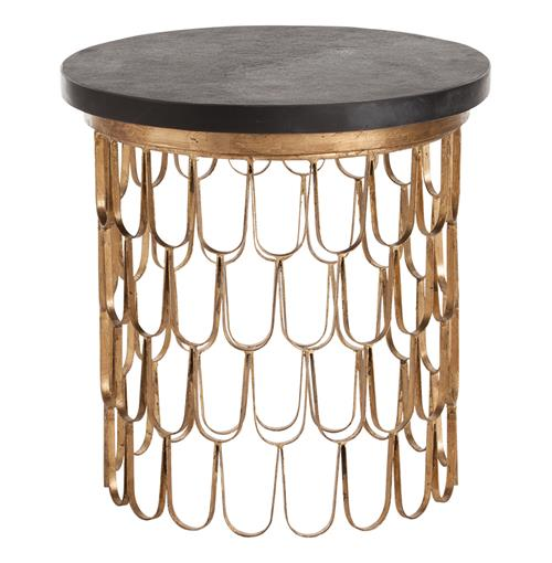 Orleans Modern Gold Leaf Iron Loop Black Marble End Table | Kathy Kuo Home