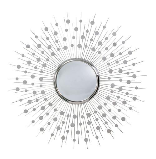 Orlon modern silver convex starburst round 36 d mirror for Sonnenspiegel silber