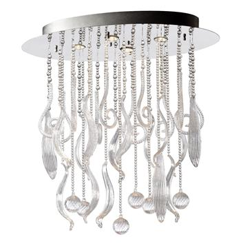 Oval Mirabella Clear Glass Murano Style 4 Light Ceiling