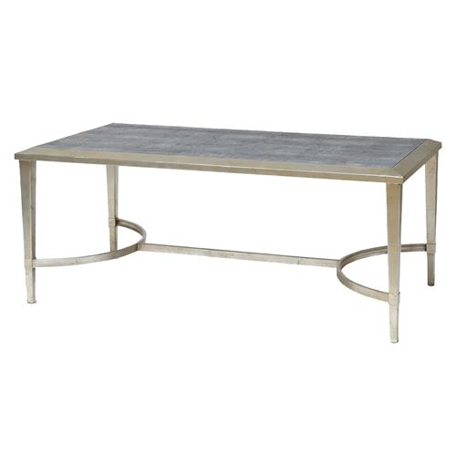 Oxford Hollywood Regency Faux Shagreen Silver Leaf Coffee Table Kathy Kuo Home