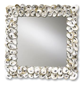 Oyster Shell Coastal Beach Large Square Mirror - 20""