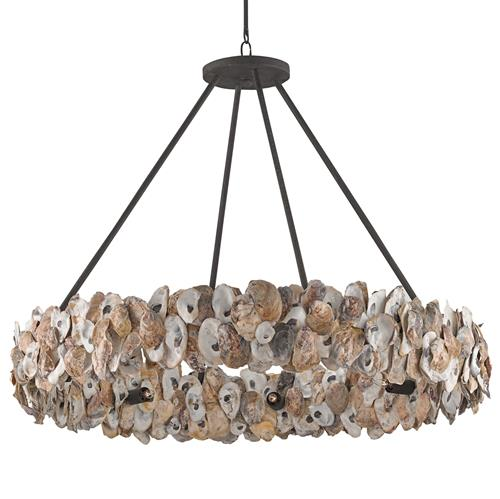 Beach Lighting Products: Oyster Shell Coastal Beach Ring Chandelier