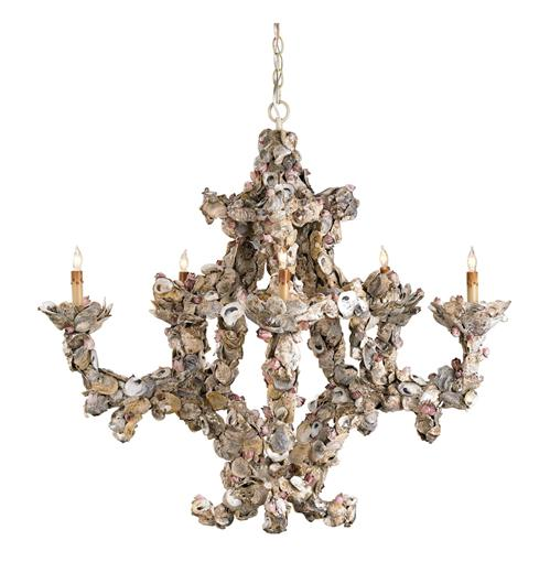 Oyster Shell Nautical 5 Light Chandelier