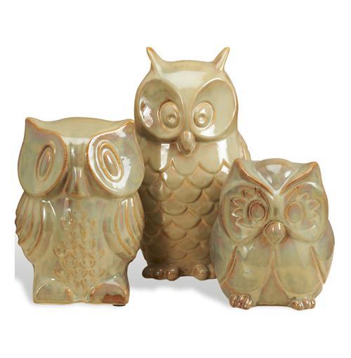 Ozen Modern Ceramic Brown Owl Sculpture Trio Kathy Kuo Home