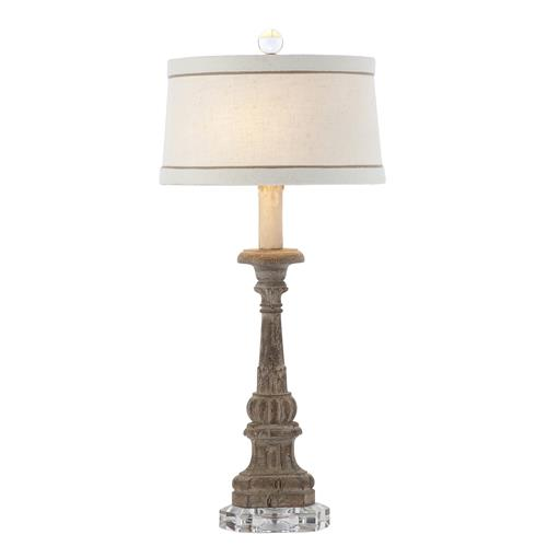 Pair Chamont Vintage Chic Weathered Wood Table Lamp