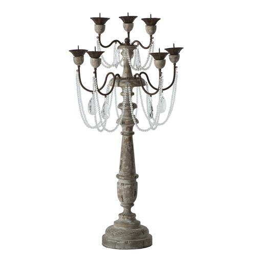 Pair Crystal Sway Distressed Gray French Country Candelabra | Kathy Kuo Home
