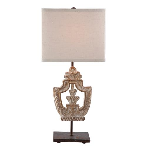 Pair Dorene Vintage Chic White Wash Architectural Table Lamp