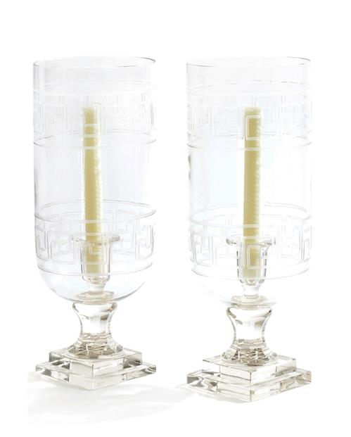 Pair Etched Glass Greek Key Link Hurricane Candle Holders