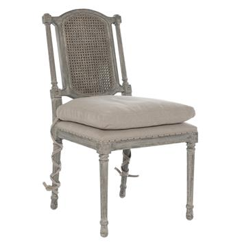 Pair Ferrel Antique Gray Shabby French Ballet Ties Dining Side Chair
