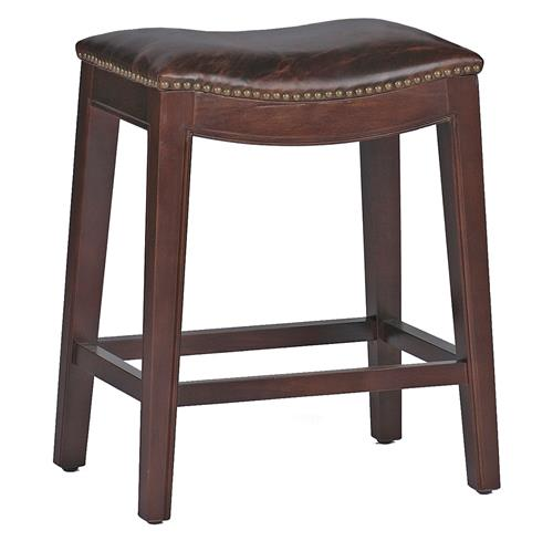 Pair Frasier Rustic Lodge Curved Seat Top Grain Leather